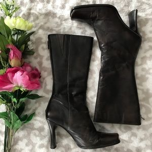 Aldo Brown Leather Mid-Calf Boots